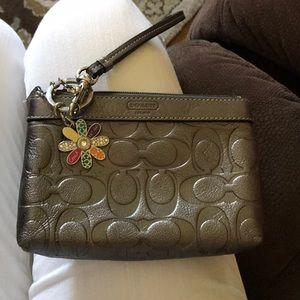 Coach wristlet with Coach keychain